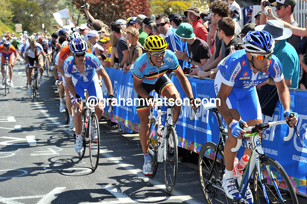 With five laps to go, Vincenzo Nibali suddenly attacks - splitting the peloton into permanent pieces..