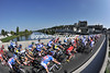 The peloton makes its annual crossing of the Loire, at Amboise...