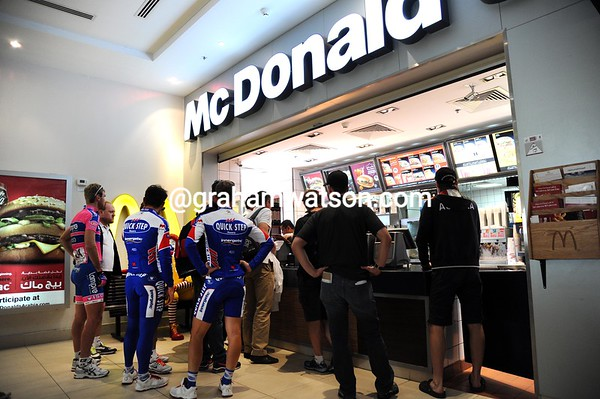Wanna BigMac..? In fact these cyclists are asking for small ice-creams before the stage-start today...