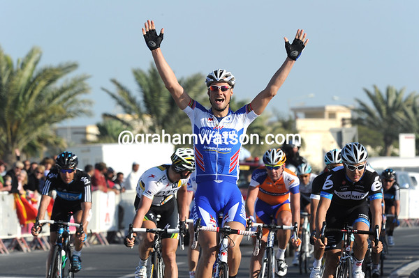Tom Boonen wins stage one ahead of Heinrich Haussler and Mark Renshaw...