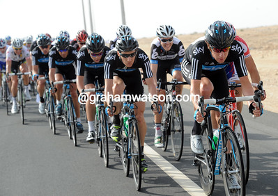 Wiggins has found his legs and lungs again and pounds away in pursuit of the 20-man escape...