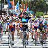 Ben Swift wins stage two from McEwen and Brown...