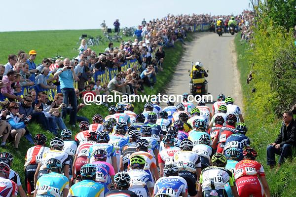 A big crowd awaits the peloton on the Gulpenerberg...