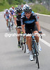 There are many attacks at the front of the peloton - Peter Kennaugh tries his luck, only to be pulled back...