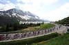 The peloton is flying up the easy gradients of the Tonale Pass - and closing in on the escape a little...