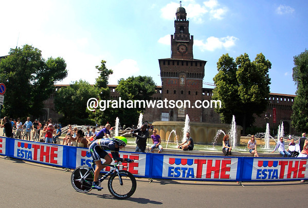 "Ignatas Konovalovas raced past the Castillo in Milan to take 19th place, 1' 30"" down..."