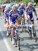 Quick-Step take their turn at pacing the peloton - their loss is as great as anyone else's, for Weylandt was a Quick-Step rider for many years...