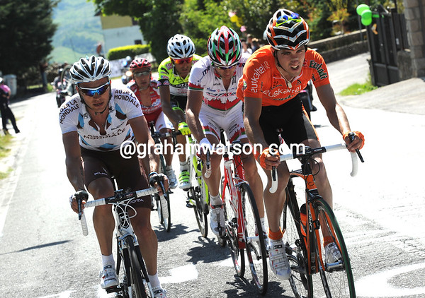 Rinaldo Nocentini has started a counter-attack on the main climb of the day - but Garmin chase this one down as well...