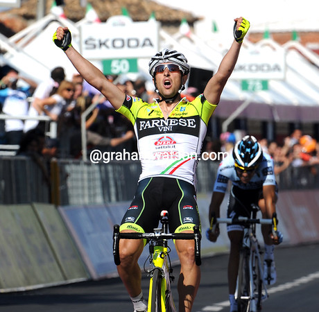 Oscar Gatto wins stage eight from Alberto Contador after the two attacked within seconds of each other on the run-in to Tropea...