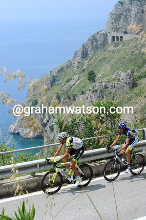 Two escapers, Leonardo Giordani and Mirko Salvaggi, have set off against a rather nice-looking backdrop...