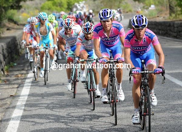 Lampre are leading the chase, for Michele Scarponi...