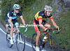 The faces of Gilbert and Fuglsang reflect a long, tough, season - and another tough climb..!