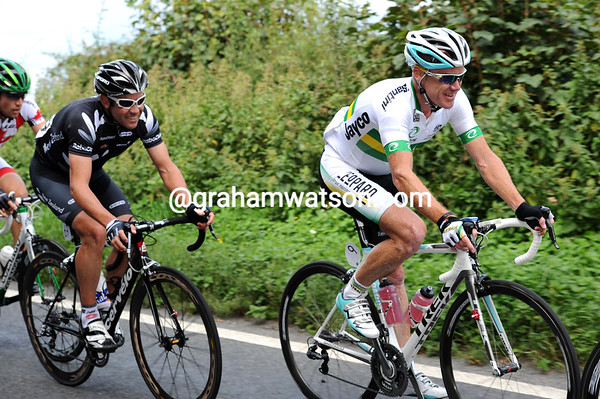 """How many beers..?!"" The two laps of Box Hill don't seem to have hurt Julian Dean and Stuart O'Grady much..."