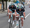 O'Grady paces Cancellara in pursuit of Van Avermaet - they'll catch the BMC rider in the last kilometre...