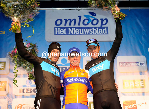 Sebastian Langeveld shares his winner's podium with Flecha and Hayman...