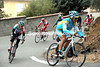 Alexandre Vinokourov is the one leading the chase on a steep hill...