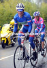 Thomas Voeckler attacks from the escape on the Col d'Eze - he has Ulissi of Lampre clinging on tight...