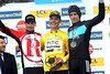 Despite the smiles, Tony Martin, Andreas Kloden and Bradley Wiggins are shivering badly as the final podium takes place on the Promenade des Anglais