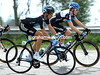 Spot the difference...? Sky's Dario Cioni clashes in black and white with Cameron Meyer of Team Garmin...