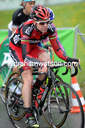 Cadel Evans looks serious about his work now...