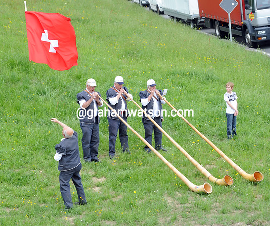 Swiss musicians are practising their skills before the race arrives...