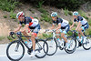 On his way back to the peloton, Cancellara has picked up Gerdemann and Andy Schleck who had a wheel change...