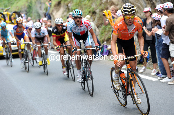 Sammy Sanchez leads a group of riders towards the last climb after attacking on the Tourmalet descent...