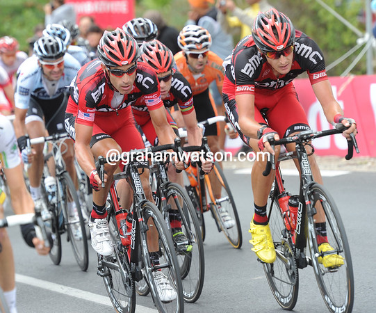 BMC is ready to fight as well - they have Hincapie and Burghardt sheltering Evans...