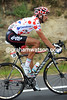 Jelle Vanendert looks colourful in his polka-dot jersey - shame about the helmet though..!