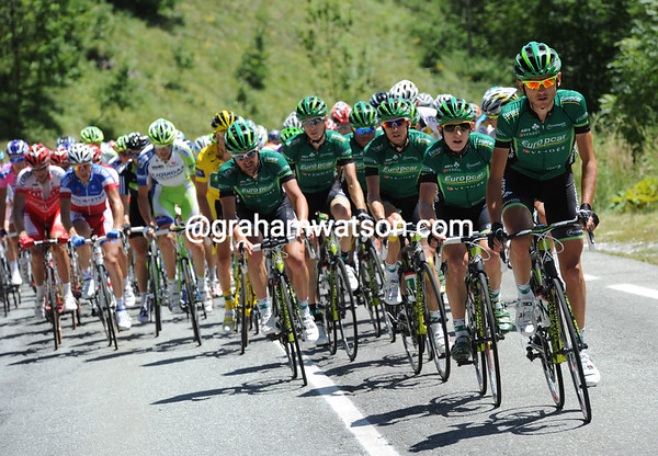 Europcar leads a gentle pace up the Col dell Agnello - they are already seven minutes down...