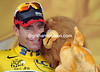 The Credit Lyonnais lion makes Cadel smile - he's virtual winner of this Tour de France
