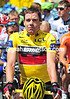 Cadel Evans leads a minute's silence to the memory of the deceased Laurent Fignon...