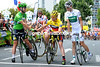 Well done Mate - Mark Cavendish greets Cadel Evans on the start line in Creteil...
