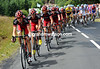 Michael Schar now leads an elegant BMC pursuit with about 40-kilometres to go...