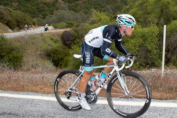 The break is fragmenting on Mt. Hamilton but Pedersen tries to stay away.