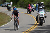 Hesjedal and Martens have descended away from the group on Mt. Hamilton.