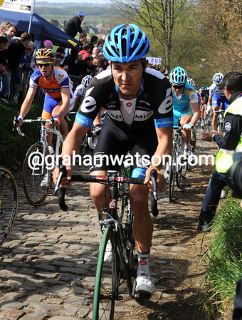 Heinrich Haussler is not looking too hot himself on the Koppenberg...