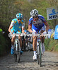 The situation has changed on the Koppenberg, where Sylvain Chavanel and Simon Clarke now lead the race...