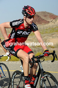 Taylor Phinney grabs some food - the young American looks fully at home in his first 'pro race...