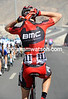 Phinney has become a complete 'pro this week - he finishes his debut by collecting water bottles for his BMC teamates...