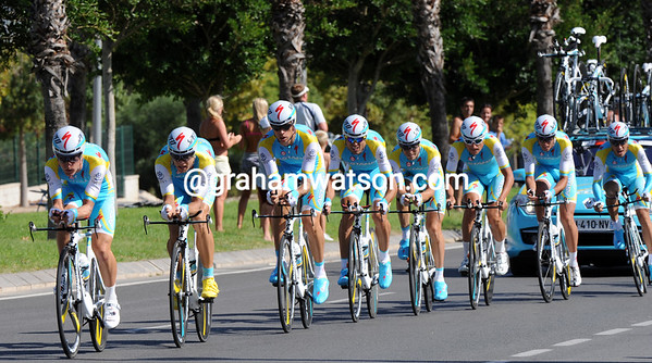 Astana looked ragged, but took a great 4th place, 10-seconds down...
