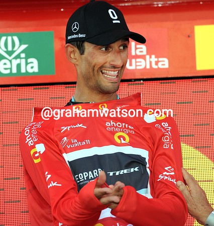 Daniele Bennati is a happy new race-leader of the Vuelta...