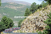 The peloton closes in on the summit of the Alto de Filabres, they are almost seven minutes behind...