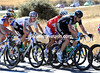 Team Sky has split the peloton in a sudden move - Ian Stannard leads Chavanel and Wiggins into the cross wind...