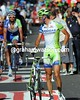 Vincenzo Nibali walks across the line, unhurt after falling with about 20 others...