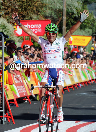 Joachim Rodriguez wins stage eight above El Escorial after attacking all his rivals on the steep finish ascent...