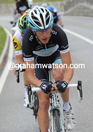 The eyes have it - Andy Schleck is an escape right away, and making it look like a big day ahead...