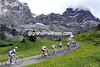 The majesty of the Grosser Scheidegg dwarfs the group containing Danielson, Leipheimer and Schleck...