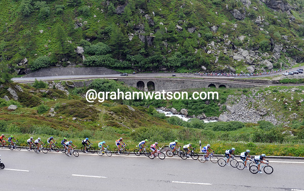 The Leopard-led escape looks down on the peloton as the GrimselPass begins to hurt - that's a three-minute gap now...