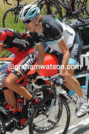 Even Andy Schleck has loaded up with a half-dozen cool bottles of water...